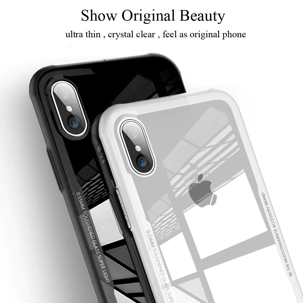 Toughened Glass Transparent Phone Case For iPhone X Xs Max Protective Bumper Glass Case For iPhone Xs XR X iPhone Case