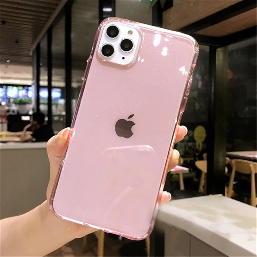 Translucent Candy Color Glitter Sparkle Cases For iPhone 11 Pro X XR XS Max 7 8 6 6s Plus Ultra Slim Anti-Knock Protection Soft Clear Case For iPhone
