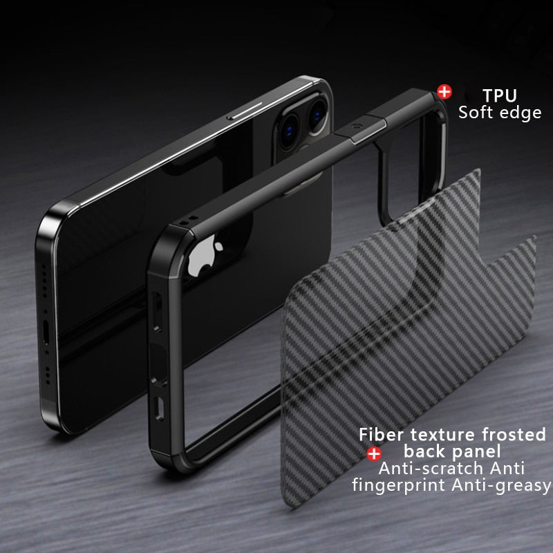 Translucent Carbon Fiber Phone Case For iPhone 12 12Pro 12Pro Max Slim Fitted Case For iPhone 11 Pro XS XS MAS XR 7 8 Plus Protective Half Wrapped Case