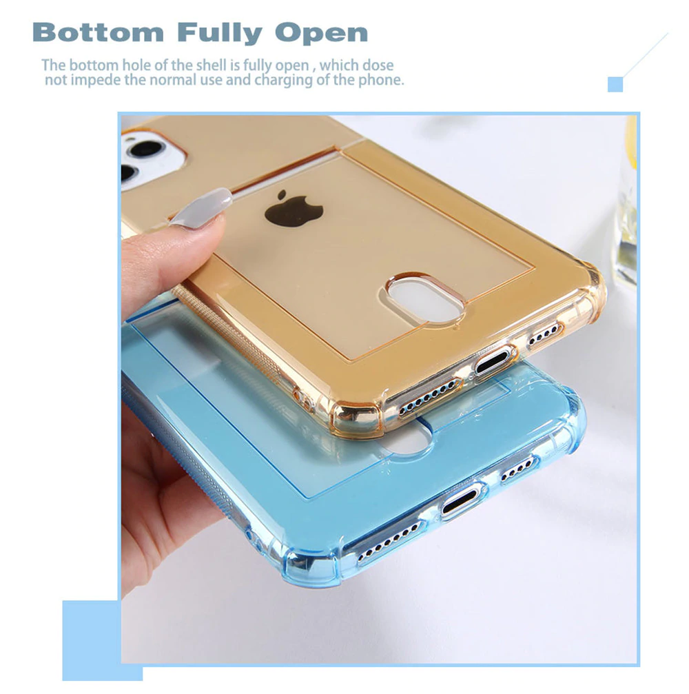 Translucent Card Holder Phone Case for iPhone 11 Pro X XS XR Max 6 6s 7 8 Plus Features Pouch For ID Card Credit Card Soft TPU Back Cover