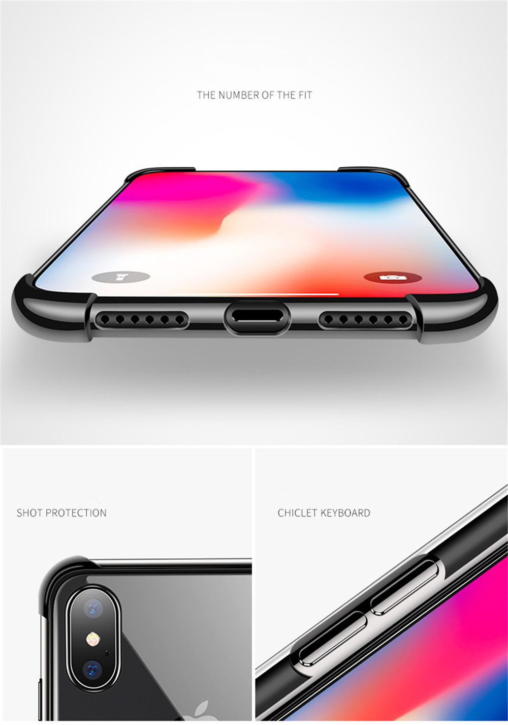 Transparent Bumper Airbag Case For iPhone 11 Pro X XR XS Max 7 8 Plus 6 6s Soft TPU 360 Degree Protection Anti-Drop Anti-Scratch Screen Clear Case