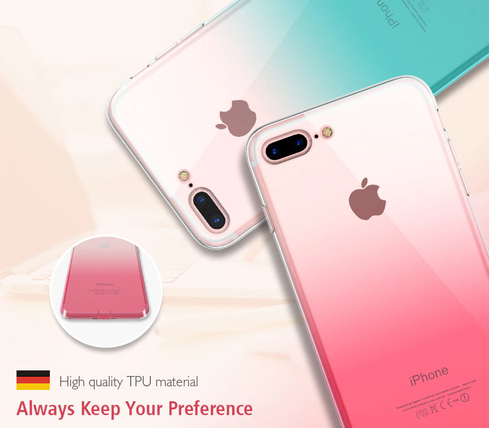 Transparent Glossy Gradient Case For iPhone 6 6S iPhone 7 8 Plus XS Max XR Ultra Thin TPU Phone Cases For iPhone 5S 5 SE