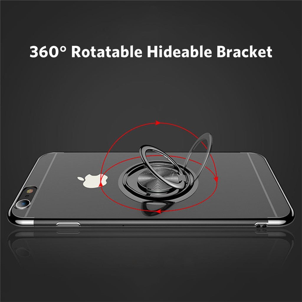 Transparent Ring Stand Case For iPhone Finger Ring Holder Kick Stand Back Cover Phone Cases With Magnet Adsorption For iPhone 7 8 6 6S Plus X