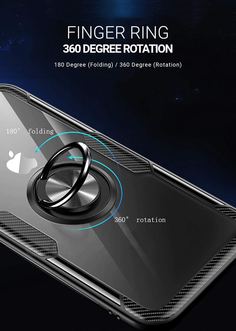 Transparent Toughened Glass Finger Ring Case For iPhone XR XS MAX X 8 Plus 7 6 With Carbon Fiber Trim And Magnetic Car Holder Kickstand