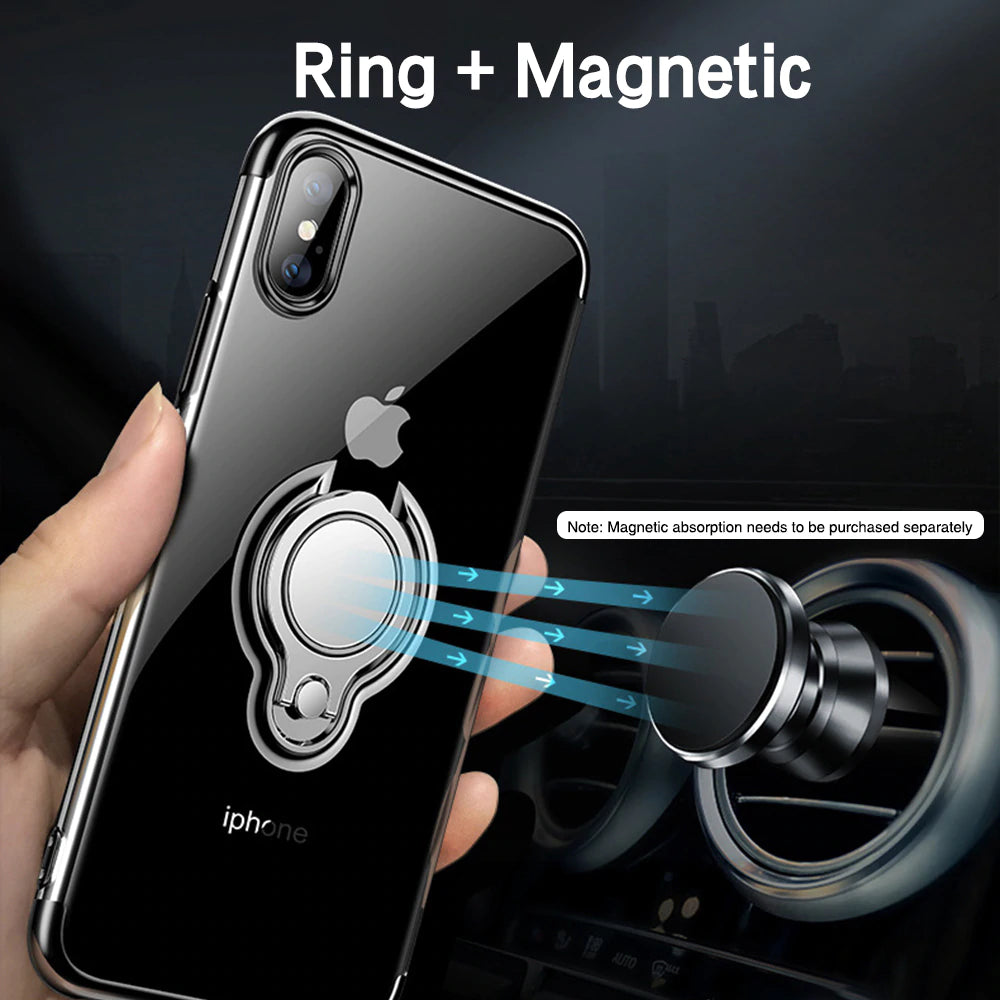 Transparent Ultra Thin Phone Case For iPhone XS MAX XR X 8 7 6 6S Plus With Magnetic Car Holder 360 Degree Rotation Finger Ring iPhone Case