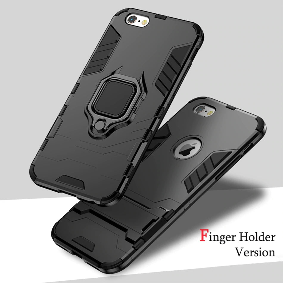 Ultra Armor 4 In 1 Multi-Function Phone Case For iPhone XS MAX X XR 8 7 6 6S 5 5s Plus Magnetic Finger Holder
