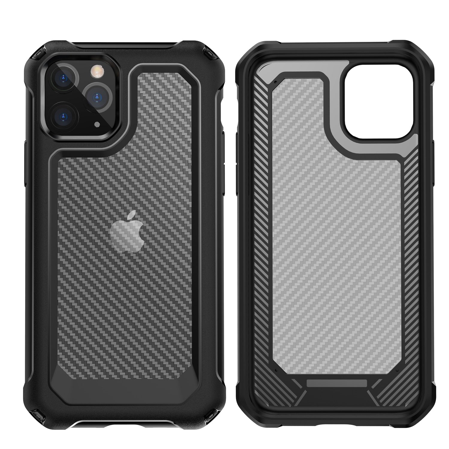 Ultra Protective Full Body Armor Case For iPhone iPhone 11, 11 Pro, 11 Pro Max, X, XS, XR, XS Max, 8 Plus, 7, iPhone SE 2020 Carbon Fiber Bayer PU Shockproof Case