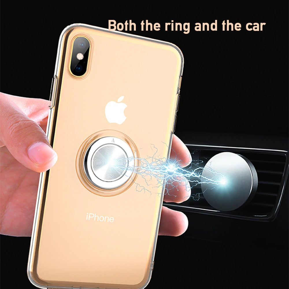 Ultra Slim Full Body Protection Soft TPU Magnet Phone Case For iPhone XS MAX X XR For iPhone 8 7 6 6S Plus Case With 360 Degree Finger Ring