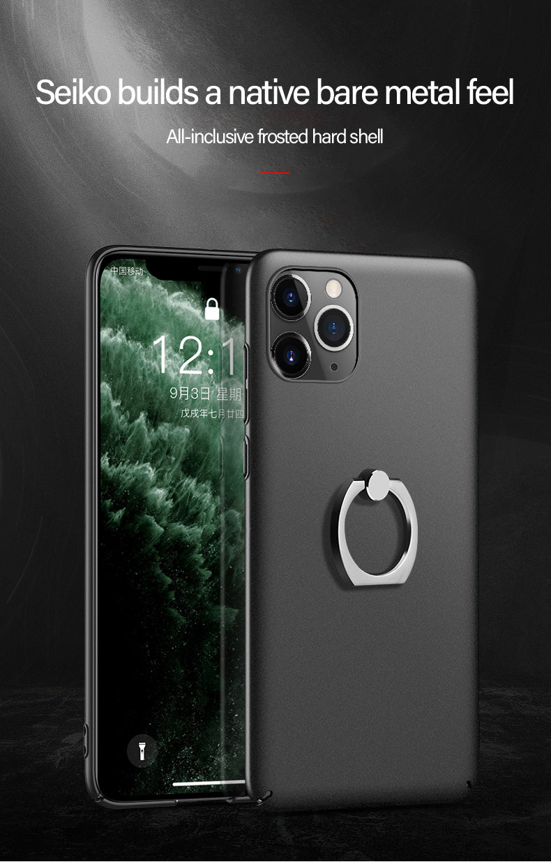 Ultra Slim Metal Ring Stand Phone Case For iPhone 11 Pro Max SE XS Max XR XS X 8 7 6s 6 Plus Frosted Matt Minimalist Fitted Case Protective Cover for iPhone