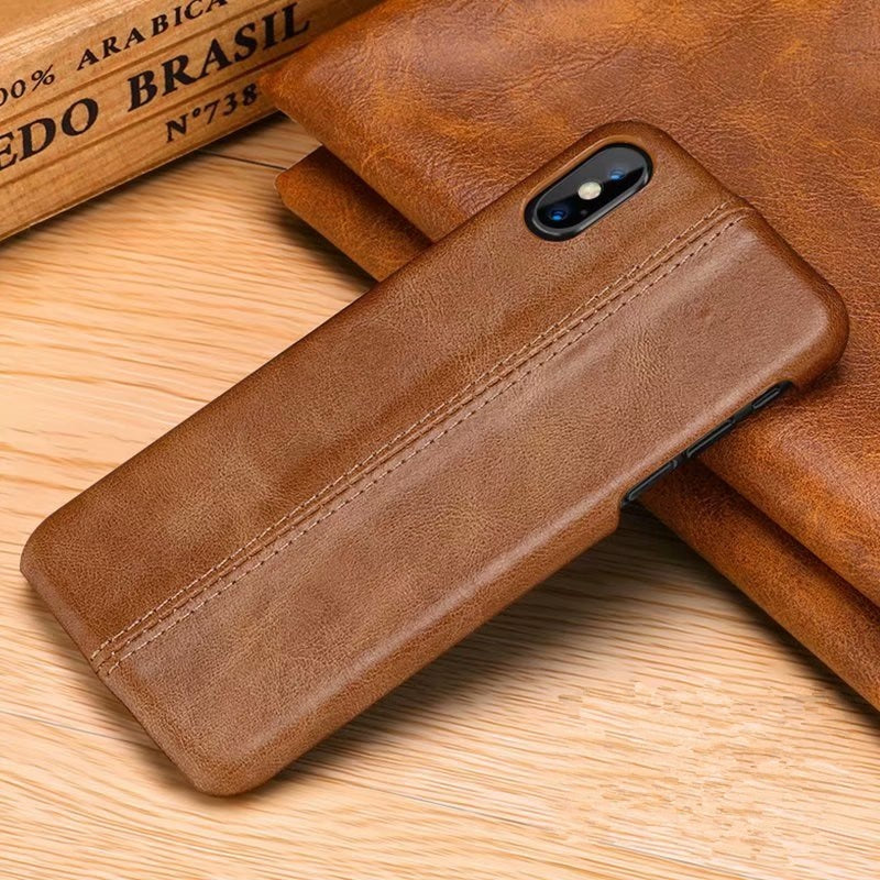 Ultra Slim Shockproof Luxury Leather Case for iPhone XS Max Genuine Sewn Leather iPhone Case for iPhone X XS XR Back Case 6 6s 7 8 9 Plus
