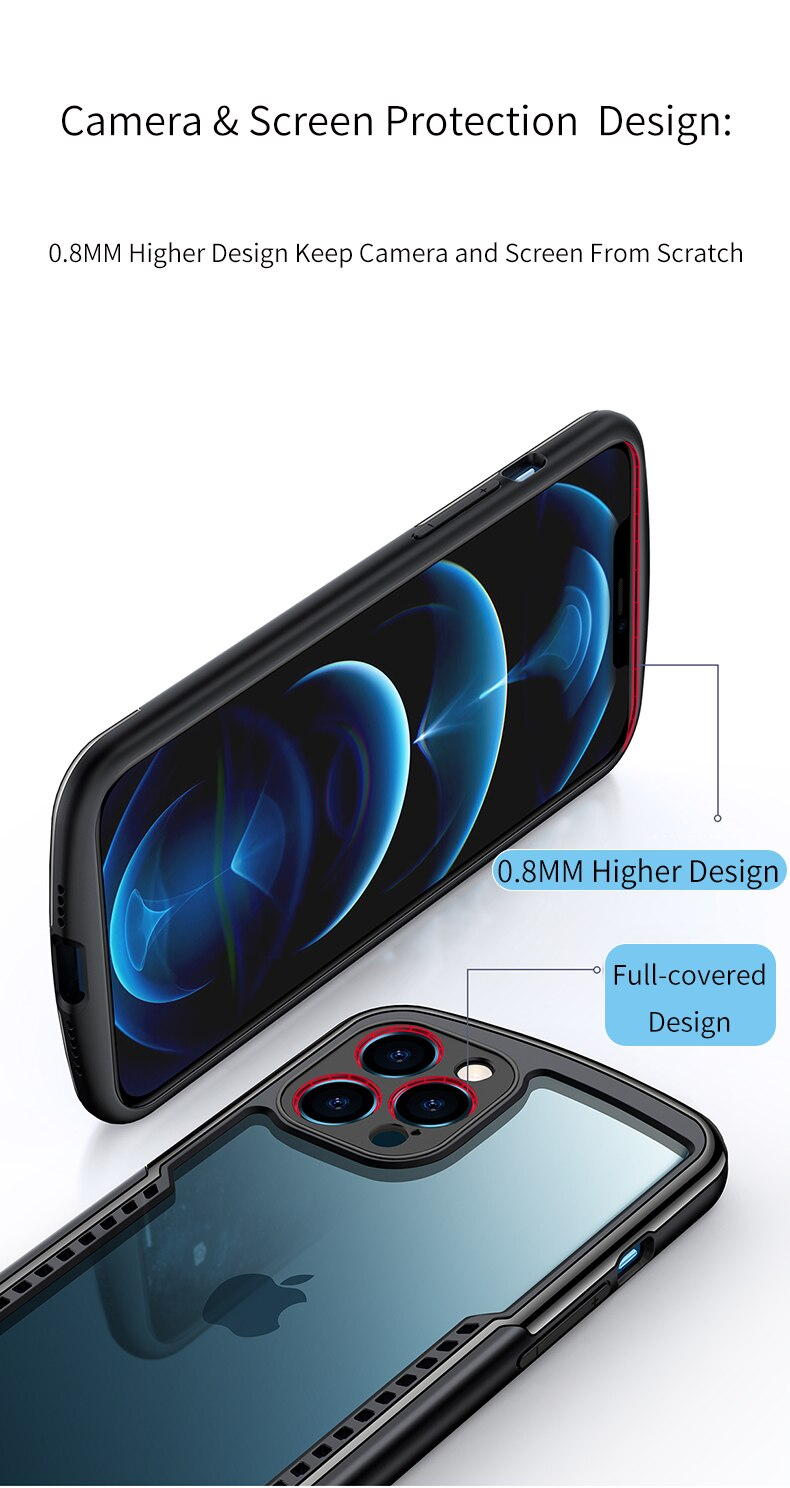 Ultra Slim Shockproof Transparent Case For iPhone 12 Bumper Case With Airbag Protection For iPhone 12 Pro 6.1 Soft TPU Anti-Drop Case For iPhone