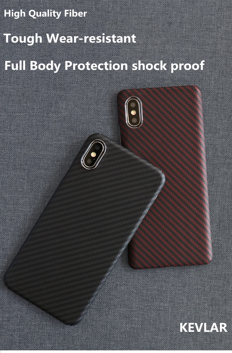 Ultra Thin Design Aramid Fiber Phone Case For iPhone 11 Pro X XR XS MAX 360° Full Protection 100% Real Aramid Fiber Fittted Case for iPhone
