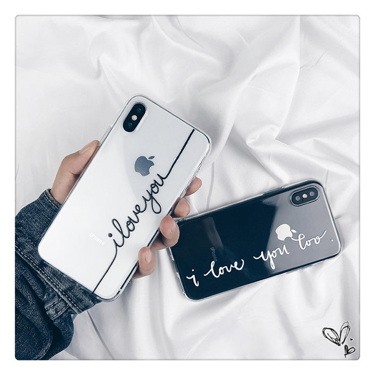 Ultra Thin I Love You Lovers Letters Designer iPhone Case For iPhone X Case Soft TPU Clear Back Case For iPhone 6S 6 7 8 Plus