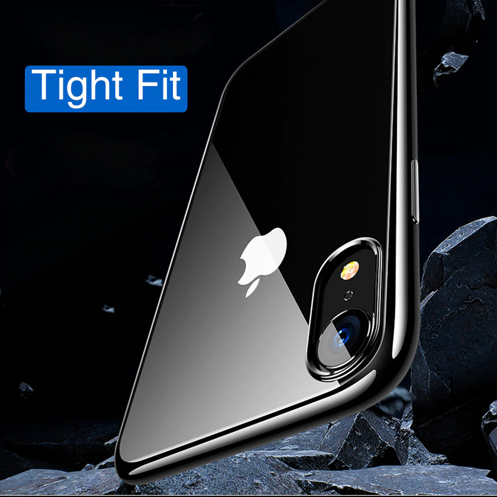 Ultra Thin Shockproof Transparent Silicon Phone Case For iPhone XS MAX XR X 8 7 6 6s Plus Vacuum Plated Soft TPU Silicone Full Cover iPhone Case