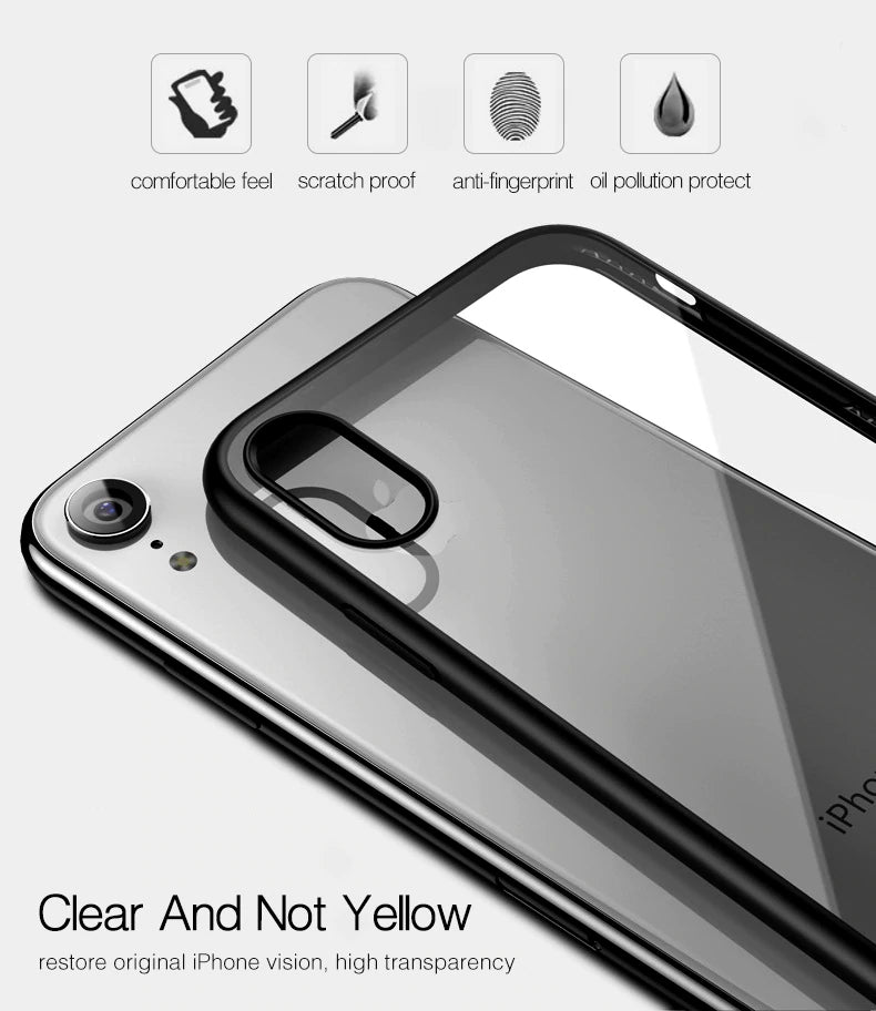 Ultra Thin Transparent Back Cover Bumper Case For iPhone X XS Max XR 8 7 Plus Shockproof Luxury Silicone Clear Case For iPhone 7 8 Plus XS