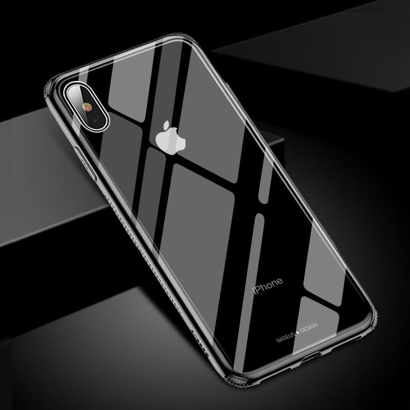 Ultra Thin Transparent Protective Case For iPhone XS Max Xr Xs Max Soft TPU Bumper Edge Tempered Glass Skin Back Cover Cases iPhone X