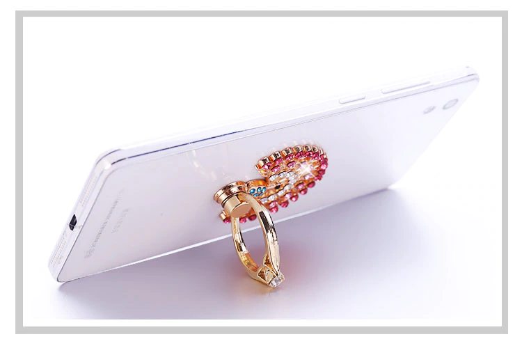 Universal 360 Rotating Rhinestone Finger Ring For iPhone Adhesive Removable Metal Finger Ring Holder Attaches To Your iPhone