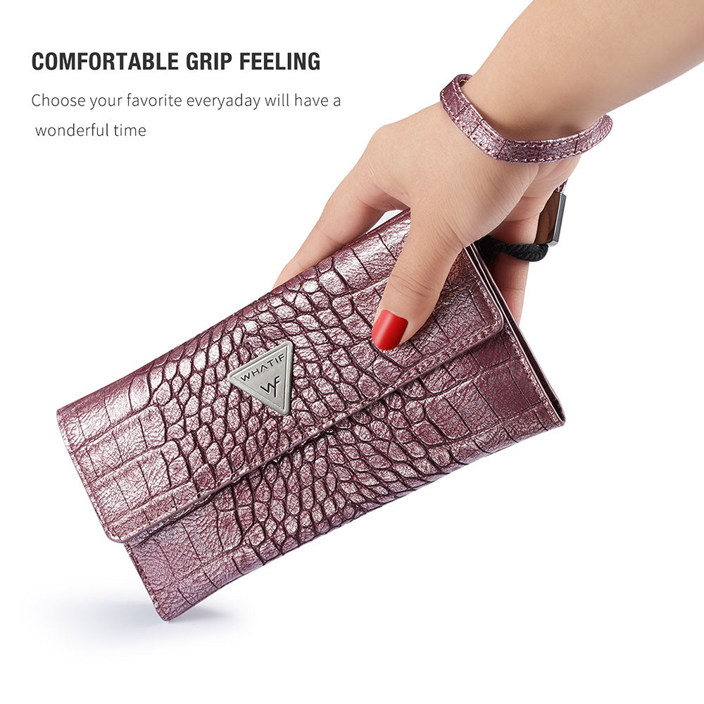 Universal Crocodile Leather Wallet Case For iPhone Card Slots Phone Bag Pouch For iPhone Retro Classic Luxury Vintage Deluxe Case For All iPhone Models