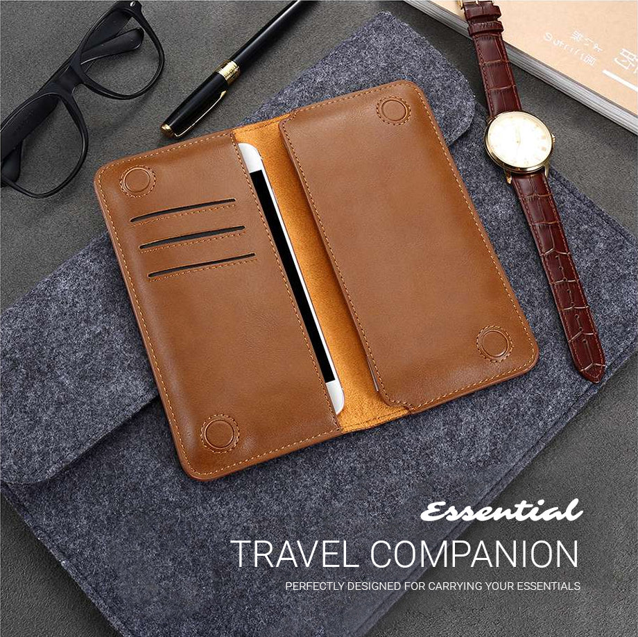 Universal Genuine Leather Flip Wallet Credit Card Holder Phone Pouch Case For iPhone X 8 7 6 6S Plus Business Traveler Clutch Bag For iPhone