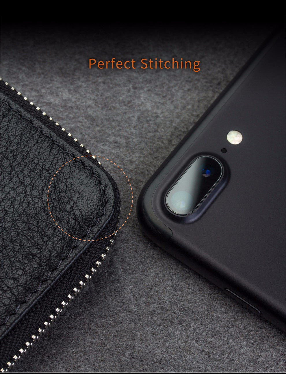 Real Leather Wallet Phone Pouch for iPhone 6 6s iPhone 7 & iPhone 7 Plus Handmade Genuine Leather Pouch Case With Built-in Credit Card Slots Universal Fit For 4.7/5.5 inch Phones