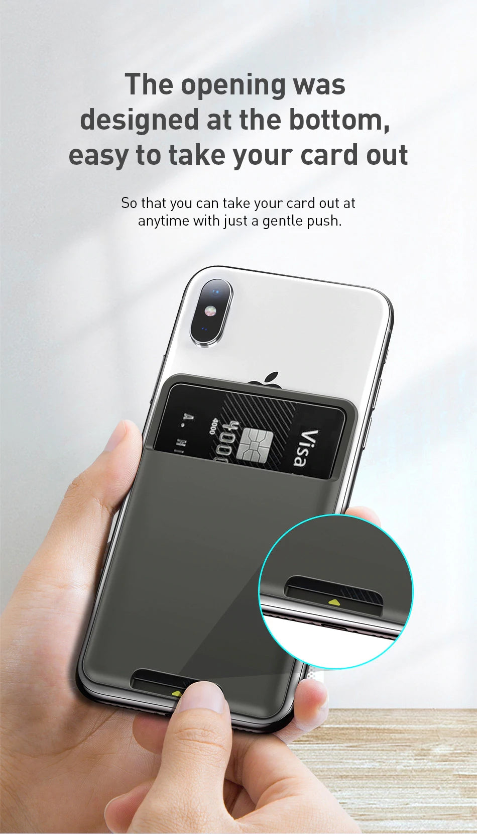 Universal Phone Slot For Credit Cards Stick-On Card Holder For iPhone Fits Most Phones 3M Sticker Card Holder Card Pocket Luxury Silicone Pouch