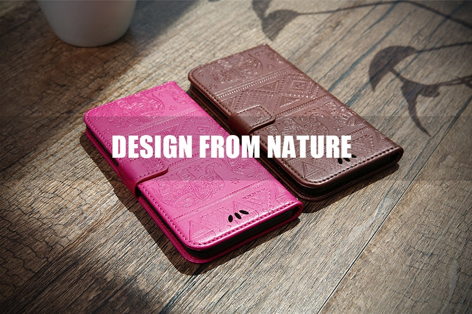 Vintage Elephant Design Tribal Style Leather Flip Case For iPhone 6 6s 5S Case Card Holder Wallet Flip Stand Cover For iPhone 5 SE 6 6S 7 8 Plus X