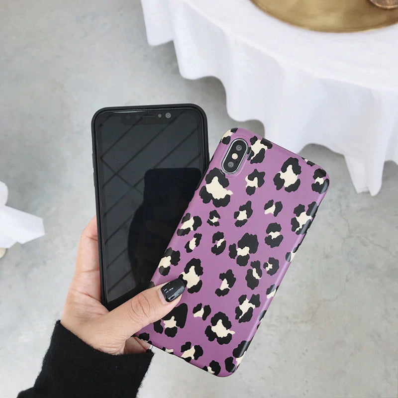 Vintage Fashion Leopard Print Phone Case For iPhone XS Max XR X Case For iPhone 6 6s 7 8 plus Back Cover Luxury Soft Cases Colorful iPhone Case Capa