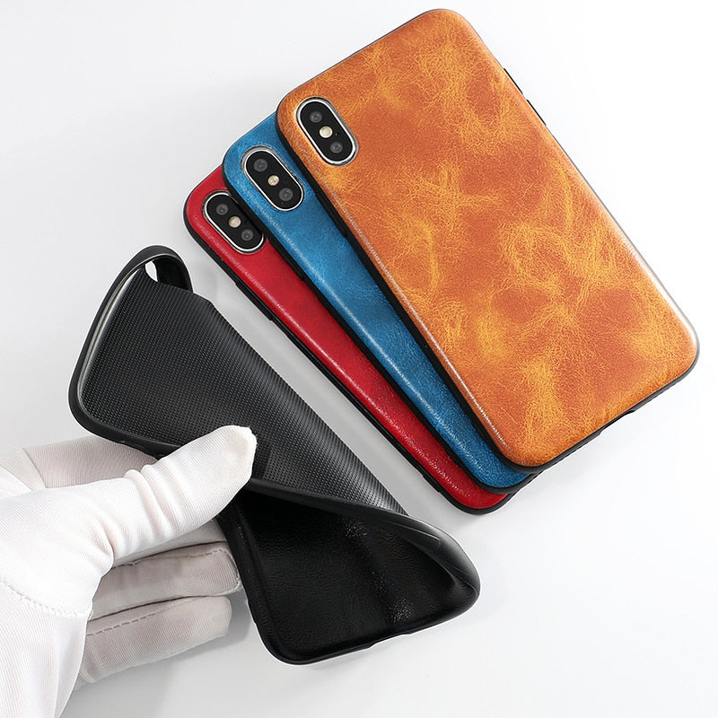 Vintage Leather Design Phone Cases for iPhone 7 8 6 6s Plus Case PU Leather Pattern Soft TPU Silicone Back Cover For iPhone X XS Max XR