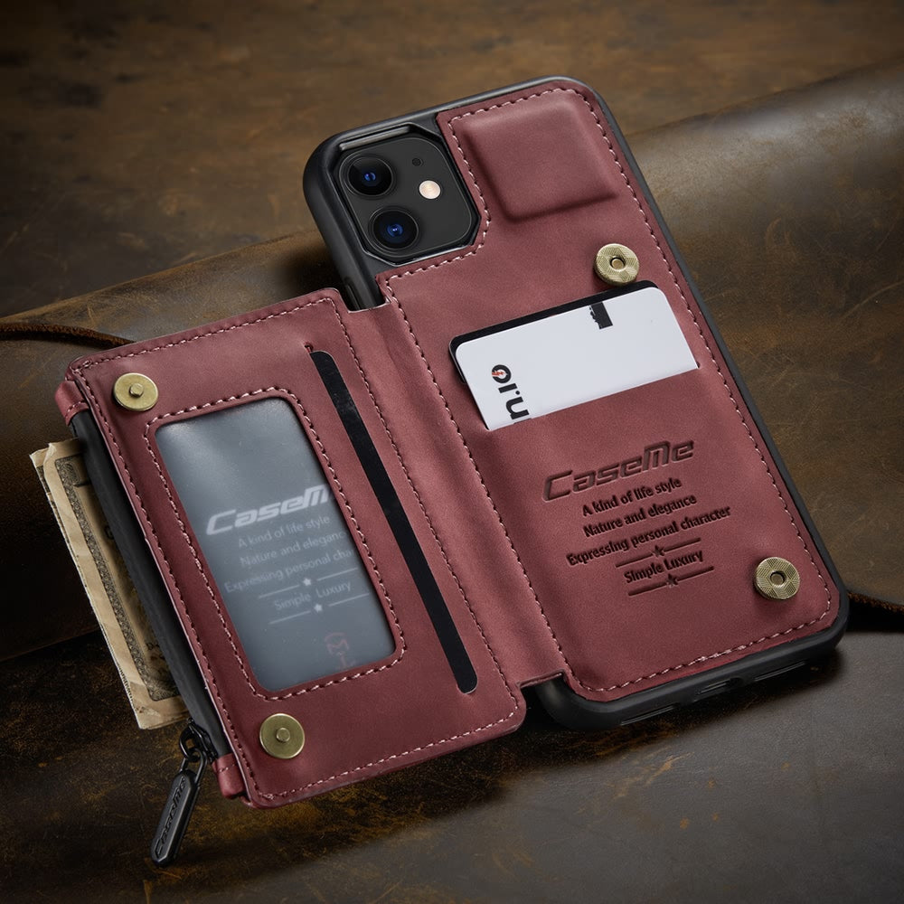 Vintage Leather Zipper Pouch Case For iPhone 11 Pro Xs Max X Xr 7 8 Plus SE2 Men Luxury PU Leather Wallet Card Holder Phone Cover For iPhone 12 Pro Max Mini