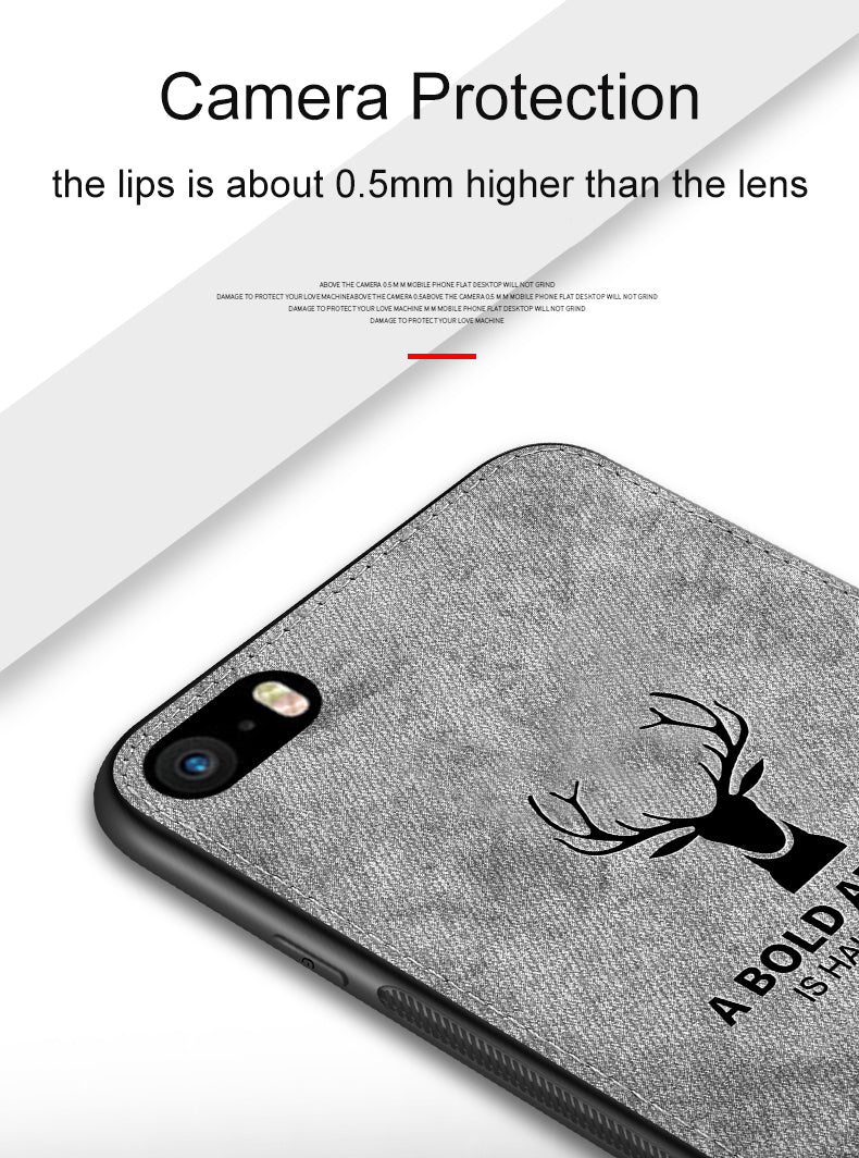 Classic Vintage Wilderness Deer Logo Fabric Case For iPhone 5s 5 6s 7 8 Plus Case Distressed Cloth Finish Hard Back Protective Cover For Apple iPhone