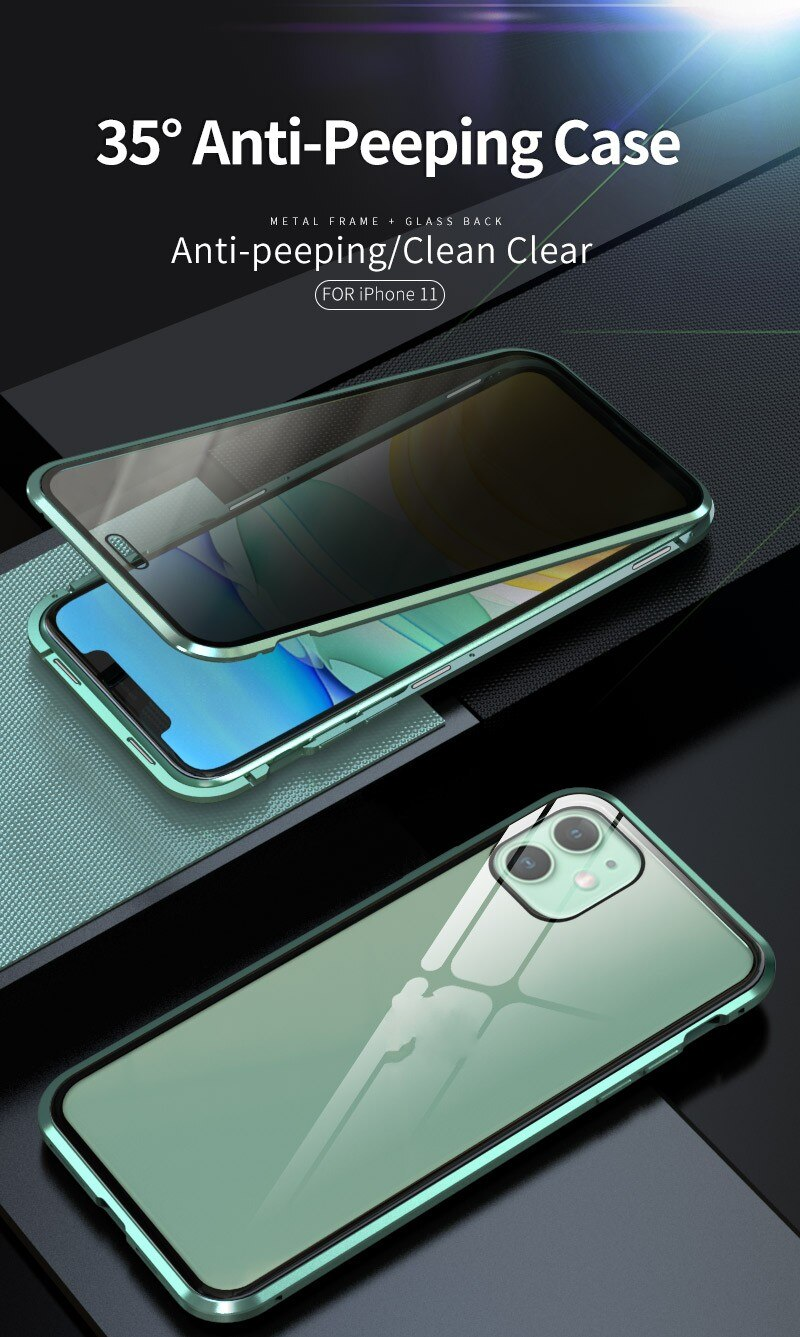 Double Sided Privacy Glass Magnetic Metal Case for iPhone 11 Pro Max XS XR Anti-Peeping Shockproof Tempered Glass Metallic Frame Cover For iPhone 6s 6 8 7 Plus