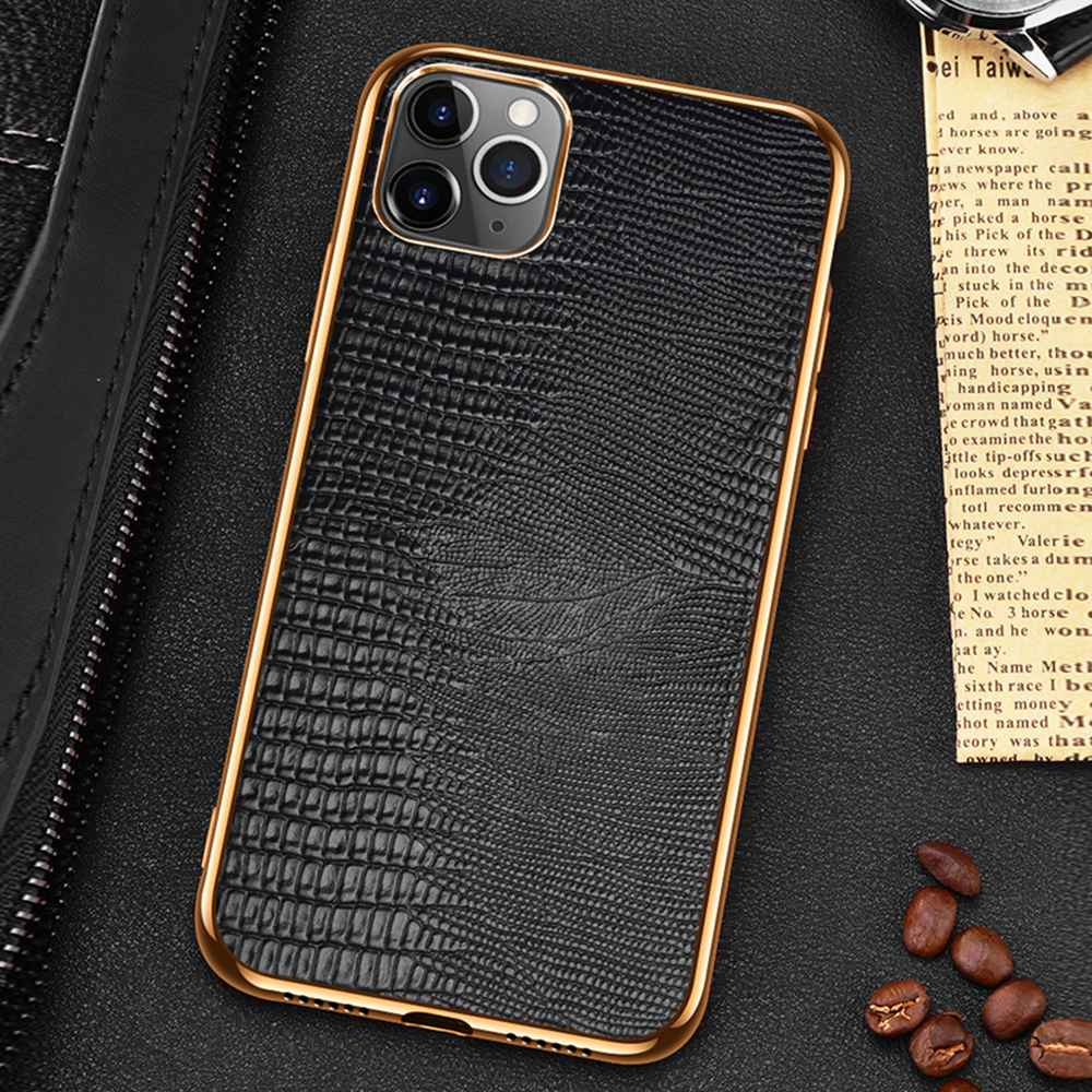 Snakeskin Design Luxury Leather Case For iPhone 11 12 Pro MAX 12 Mini 11Pro 12Pro X XR XS Max Case Premium Plating Soft Edge Back Cover For iPhone 12 Pro