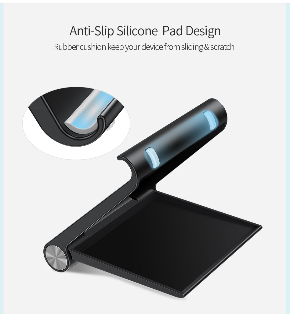 Desktop Phone Stand For iPhone iPad Tablet Holder With 0-100 Degree Adjustable Viewing Angle Available In Black or White Fits Most Mobile Devices