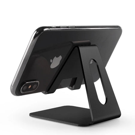 Aluminum Desktop iPhone Stand For Mounting Smartphone Or Tablet Lightweight Strong & Stable Table Stand Ideal For Positioning iPhone or iPad For Videocalls etc