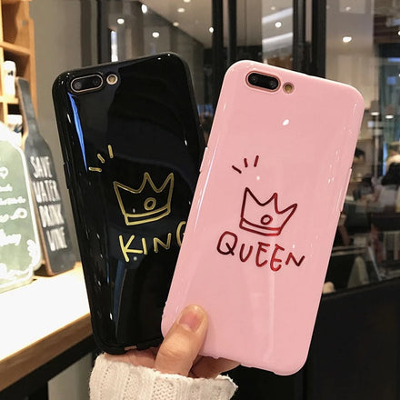 Black KING Pink QUEEN Phone Cases For iPhone XS MAX 6 6s Plus Back Cover Love Couples Phonecases Soft TPU Cases For iPhone XR X 8 7 Plus