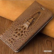 Load image into Gallery viewer, Crocodile Phone Case For iPhone X XS XS Max XR 6 7 8 8 Plus Genuine Leather Flip Case With Built In Card Protector Magnetic iPhone Case