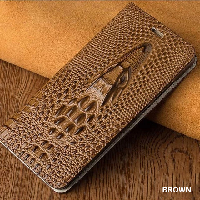 Crocodile Phone Case For iPhone X XS XS Max XR 6 7 8 8 Plus Genuine Leather Flip Case With Built In Card Protector Magnetic iPhone Case