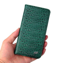 Load image into Gallery viewer, Crocskin Camshell Real Leather Flip Case for iPhone 12 11 Pro Max Xs Max XR X 8 7 6s Plus SE Premium Quality Cowhide Cardholder Crocodile Flip Case For iPhone