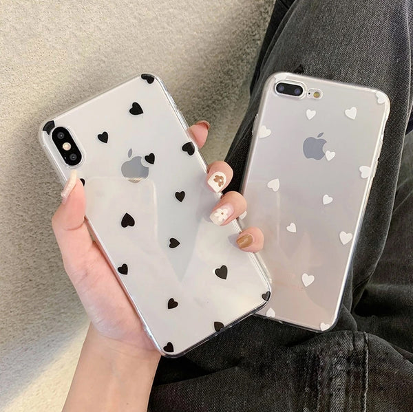 Cute Transparent Love Hearts Phone Case For iPhone 11 6 6s 7 8 Plus X XR 11 Pro XS Max Transparent Soft TPU Fitted Case For iPhone X