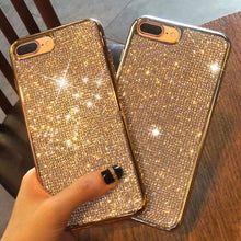 Load image into Gallery viewer, Diamond Diamante Bling iPhone Case Full Crystal Rhinestone Fashion Electroplated Soft Case For iPhone XS Max XR X 8 7 6 6S Plus 5 5S SE