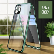 Load image into Gallery viewer, Double Sided Glass Magnetic Metal Frame Case For iPhone 11 Pro Max X XR XS MAX With Camera Lens Protection Tempered Glass Aluminum Case