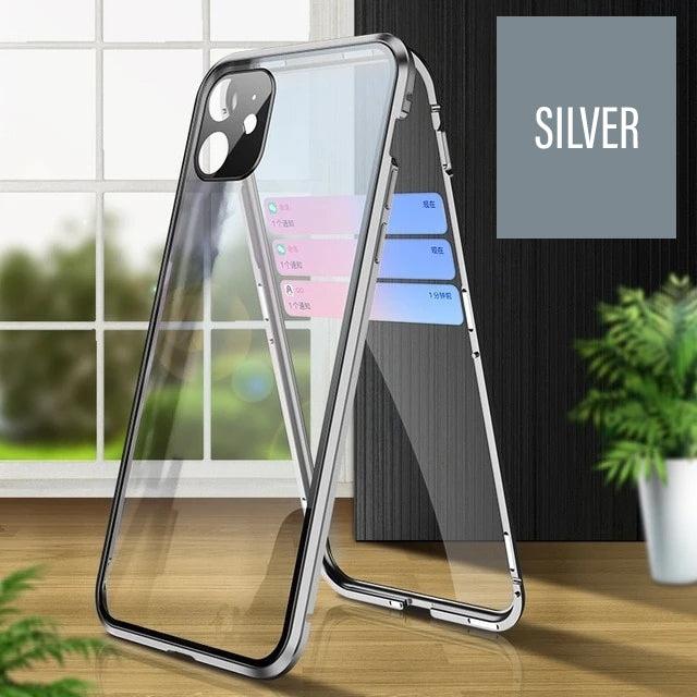 Double Sided Glass Magnetic Metal Frame Case For iPhone 11 Pro Max X XR XS MAX With Camera Lens Protection Tempered Glass Aluminum Case