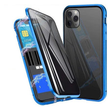 Load image into Gallery viewer, Double Sided Privacy Glass Magnetic Metal Case for iPhone 11 Pro Max XS XR Anti-Peeping Shockproof Tempered Glass Metallic Frame Cover For iPhone