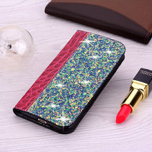 Load image into Gallery viewer, Elegant Glitter Bling Soft PU Croc Leather Book Case For iPhone 7 8 6 6S Plus 5S Funda Case for iPhone X XR XS Max 11 Pro Max Wallet Case With Kickstand