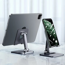 Load image into Gallery viewer, Foldable Portable Dual Adjustment Aluminum Stand For iPad Tablet Desktop Mount For iPhone Smartphone Table Stand High Quality Alloy Metal With Non-Slip Silicon