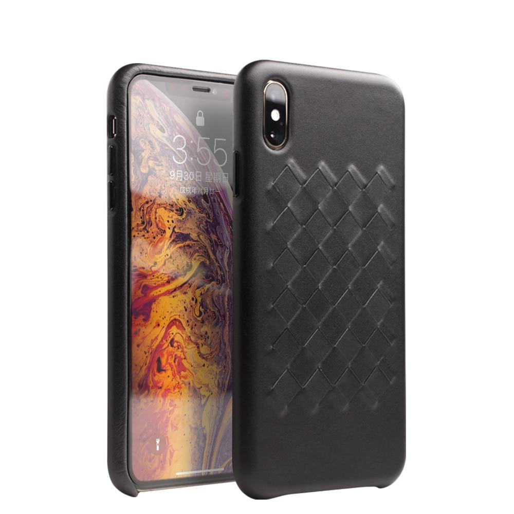 Genuine Leather Luxury Case for iPhone X/XS Elegant Woven Design Ultra Slim Back Cover for iPhone XR/XS Max Leather Case