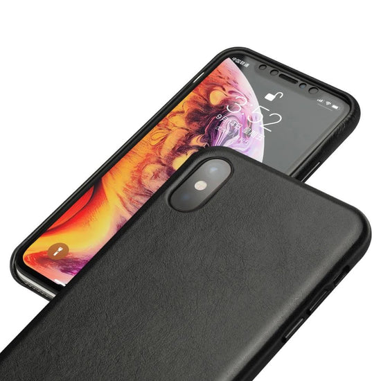 Genuine Leather Phone Case for Apple iPhone X/XS/XR Luxury Half-wrapped Leather Phone Cover for iPhone XS Max