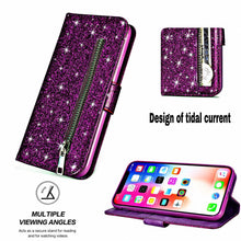 Load image into Gallery viewer, Glitter Bling Purse Wallet Card Holder Case For iPhone 6 6s Plus 7 8 Soft PU Leather Phone Cover For iPhone 11 Pro Max XR XS Case With Zip Pocket & Strap