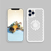 Load image into Gallery viewer, Cooling Ventilated Case For iPhone 11 Pro Max XR X XS Max 7 8 Plus Case Soft Silicon Fitted Case With Rotating Magnetic Finger Ring Case For iPhone