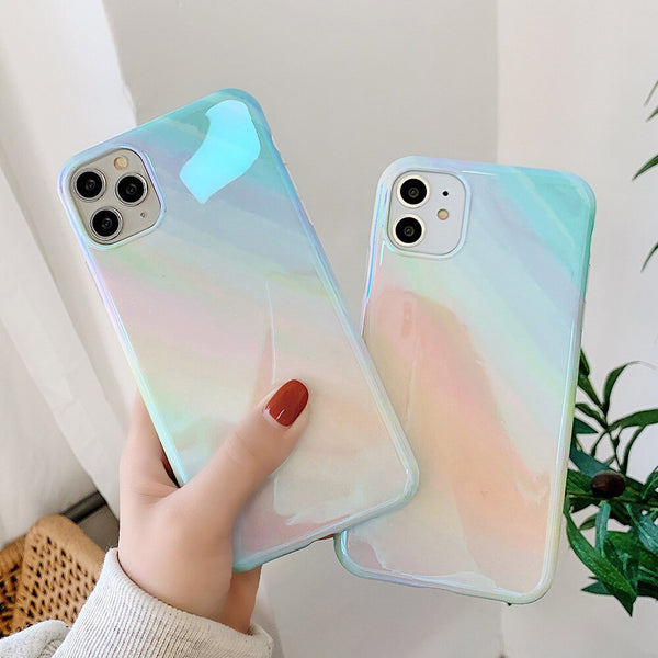 Glossy Blue Ray Marble Gradient Phone Case For iPhone 11 Pro Max XR XS Max 7 8 Plus X Protective Back Cover For iPhone 11 XR 7 8
